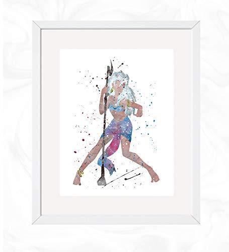 Princess Kida Prints, Atlantis: The Lost Empire Disney Watercolor, Nursery Wall Poster, Holiday Gift, Kids and Children Artworks, Digital Illustration Art