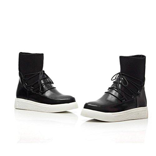 Ei&iLI Printemps des femmes / automne / hiver Bootie / Fashion bottes simili cuir talon plat Casual Lace-up noir / gris , black , 32