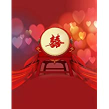 A.Monamour 5x7ft Fabric Vinyl Red Chinese Lunar New Year Spring Festival Theme Party Wall Decorations Mural Photography Backgrounds
