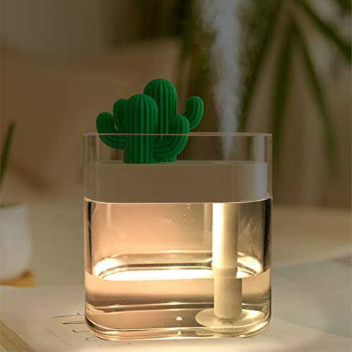 WEY&FLY Mini Humidifier with LED Light, Mini Cool Mist Humidifier USB Portable Air Humidifier with Auto Shut-Off, for Bedroom, Baby Room, Home Yoga Office Spa Desktop (Transparent)