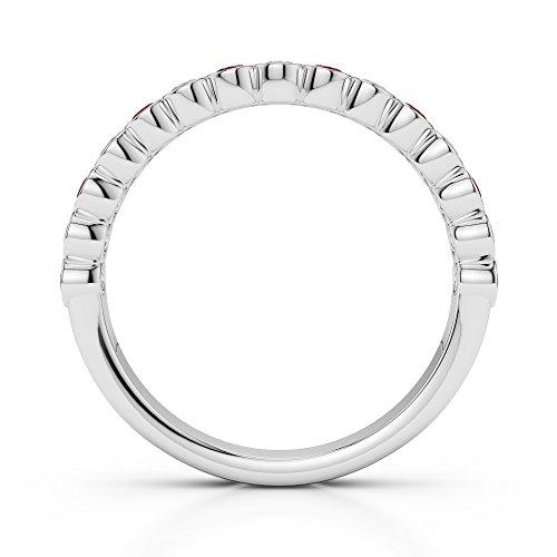 G-H/VS 0,21CT Coupe ronde Certifié Grenat et diamants en platine 950Agdr-1102