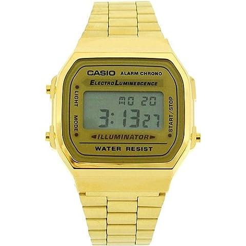 CASIO A168WG Gents-Mens Digital Chronograph Gold Tone Metal Bracelet Watch (Gold Tone Metal Watch)