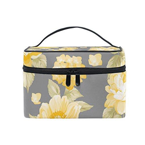 ALAZA Large Multifuncation Yellow Roses Pattern Cosmetic Bag