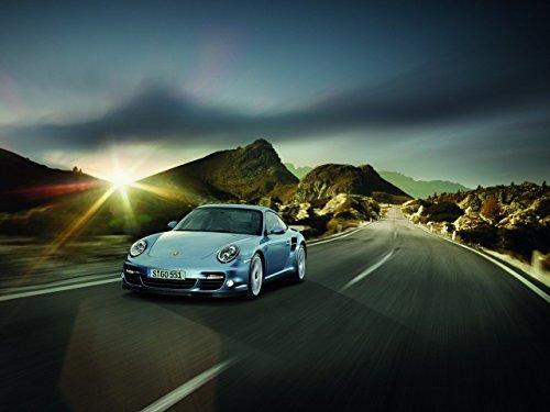 Classic y los músculos de los coches y Porsche 911 Turbo S arte del coche auto 10 mil Póster en papel satinado papel azul parte delantera clubking Vista, ...