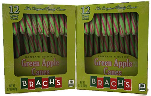 Holiday 2 Pack - Brachs Santas Choice Green Apple Candy Cane - 24 total canes