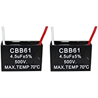 CompStudio 2Pcs 4.5UF 500V CBB61 Ceiling Fan Capacitor 2 Wire 50/60Hz
