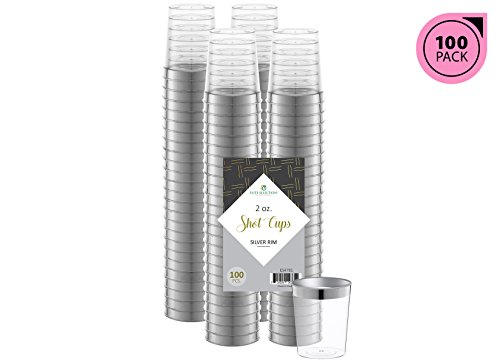ELITE SELECTION 100 Count 2 Oz. Party Disposable Hard Plastic Clear Shot Cups with Silver Rim ()