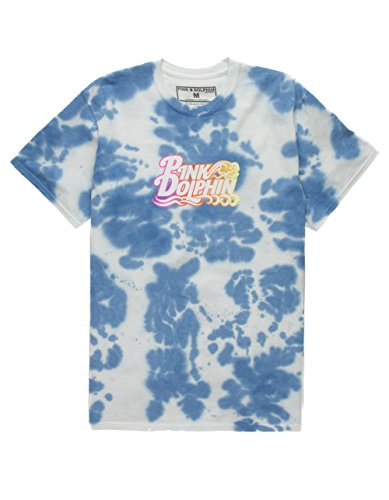 PINK DOLPHIN Nu Script T-Shirt, Blue Combo, Large (Shirts Mens Dolphin Pink)