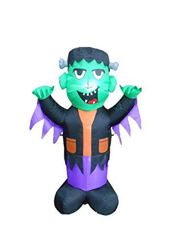 BZB Goods 4 Foot Tall Halloween Inflatable Frankenstein Party LED Lights Decor Outdoor Indoor Holiday Decorations, Blow up Lighted Yard Lawn Decor Home Family Outside -