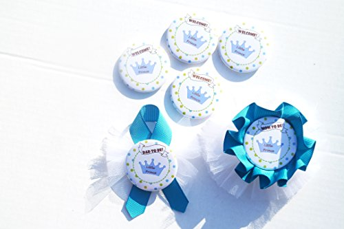 - Royal Little Prince Baby Shower Party Buttons Boy Royal Prince Baby Shower Keepsake Corsage for Mom To Be and Dad, Guest (Green Blue Polka Dots)