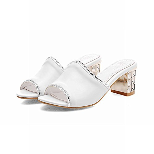 Carolbar Chic Womens Shiny Rhinestone Sweet Cute Casual Chunky Mid Heel Sandals Slippers White SMEN1PnW