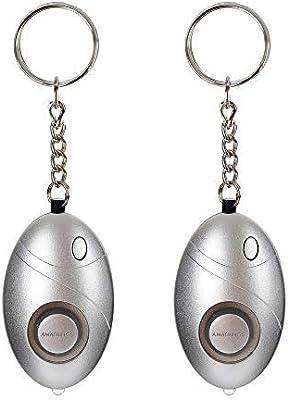 AMATHINGS Conjunto de 2 (Paquete Doble) Alarma de Monedero Alarma Personal con Llavero y luz LED/Linterna Alarma de pánico 140db Alarma de Seguridad para Mujeres: Amazon.es: Deportes y aire libre