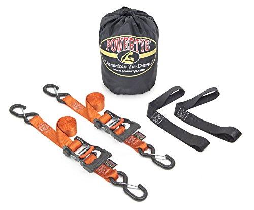 1½ x 6ft PowerTye Made in USA Ergonomic Ratchet Tie-Down Kit with 1½x18 Soft-Tyes and Storage Bag, Orange (Pair)