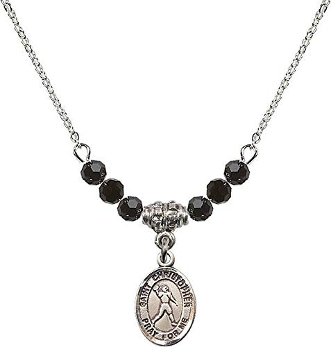 18-Inch Rhodium Plated Necklace with 4mm Jet Birthstone Beads and Saint Christopher/Football Charm. Patron Saint of - Football Charm Jets