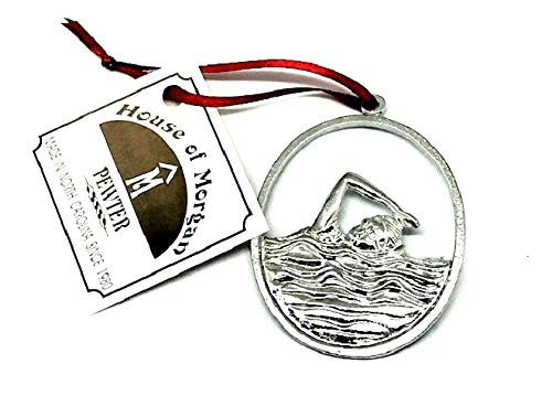 (899 Swimmer Diver Lifeguard Swimming Triathlon Water Polo Ornament Pewter)