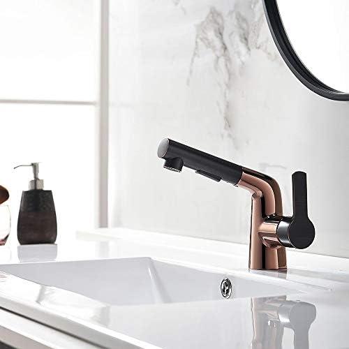 ロータリープルベイスンミキサー、ローズゴールド銅クロムホット&コールドウォーターミキサー、キッチンやバスルームに適して、表面メッキプロセス、水の流れの2つのモード イカンあなたが持っているに値する