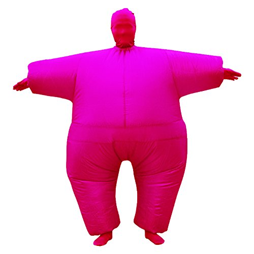 Inflatable Full Body Jumpsuit Cosplay Costume Halloween Funny Fancy Dress Blow Up Party Toy (Pink)