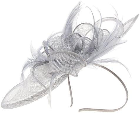 [해외]B Blesiya 중 세기 모자 헤어 클립 유혹 메시 털 여성 의상 연회 사진 파티 전 5 색-회색 / B Blesiya Midcentury Hat Hair Clip Enchanted Mesh Feathers Ladies Costume Banquet Photo Party All 5 Colors - Grey