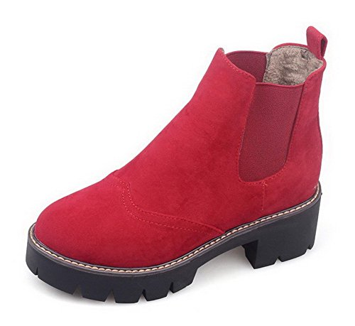 AmoonyFashion Womens Solid Kitten-Heels Round Closed Toe Imitated Suede Pull-On Boots Red Z2lEFb