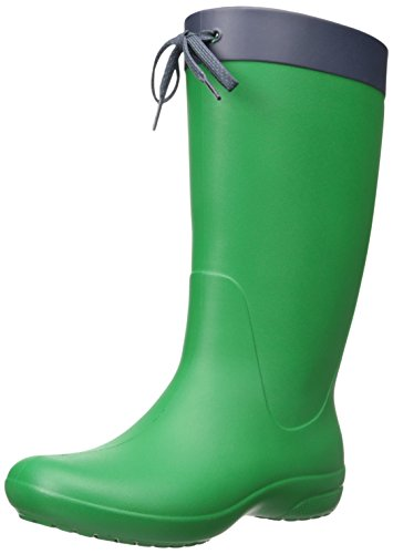 Crocs Women's Freesail Rain Boot, Black, Various Green (Kelly Green)