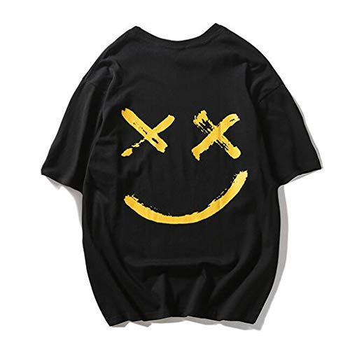 Casual Manches Courtes Noir À grande Top Haut Unisexe Taille Teen Smiley Print Fashion d8nwA4q