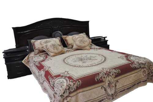 Tache 5 Piece Chenille Woven Medallion Red Burgundy Garden Quilt Bedspread Set, King/California King Medallion 5 Piece