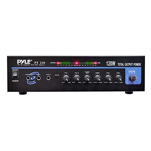 Compact Public Address Mono Amplifier - Professional 120 Watt Home Power Audio Sound PA Speaker Receiver System w/ RCA, Headphone, 2 Microphone Inputs, Independent Volume Control - Pyle PT210