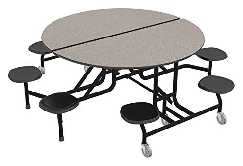 8-Seat Round Mobile Stool Table, Gray Glace, 29