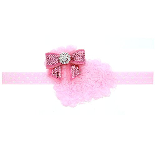 Floral Fall Baby Girls Valentine's Day Gift Rhinestone Headbands Pink Hair Band BY-04 (Pink)