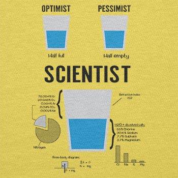 NERDO Optimist Pessimist Scientist - Herren T-Shirt, Größe XL, Gelb