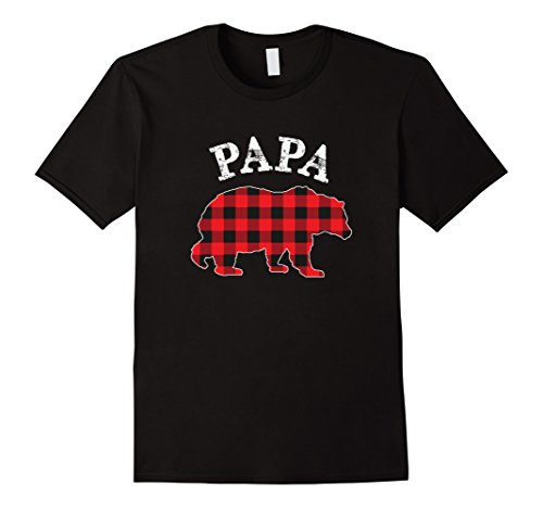 Mens Red Plaid Papa Bear Buffalo Matching Family Pajama T-Shirt Large Black