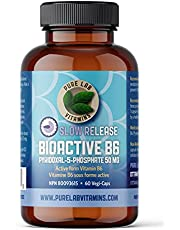 Pure Lab Vitamins B6 Bioactive Supplement - 60 Vegan Caps - Promotes Healthy Metabolism, Supports Serotonin Synthesis & Immune System, Helps with Pregnancy Nausea - Slow Release - Gluten & Sugar Free