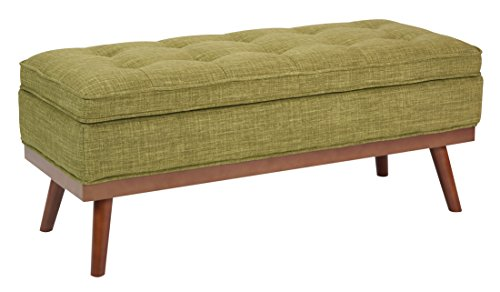 Metal Office Bench - AVE SIX Katheryn Storage Bench with Tufted Seat and Wood Finish Legs, Green Fabric