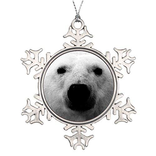 Acove Nature Love Save Ice Kingdom White Polar Bear Face Personalised Christmas Tree Decoration Santa Decorations Christmas Snowflake Ornaments 3 inch