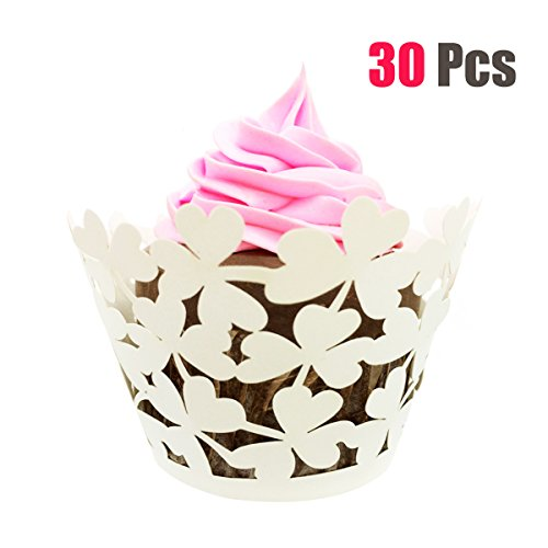 30 Pcs Decorative Leaf Clover Laser Cut Cupcake Liners for Weddings, Birthdays, Christmas, Lace Cupcake Wrappers (Creamy-White)