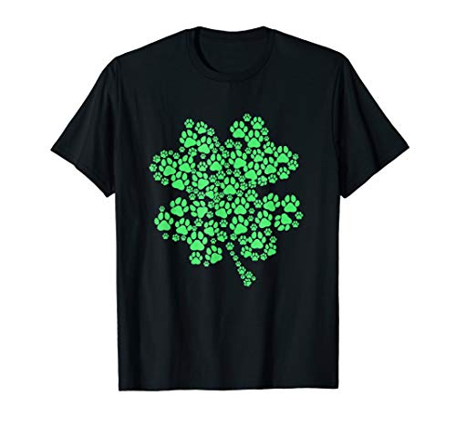 Lucky Clover Paw Dog Puppy St. Patricks Day Tee Shirt