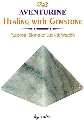 Aatm Gemstone Green Aventurine Pyramid for EMF Protection Chakra Healing Meditation 2.5 and 2.5 Inches