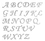 PICK ANY 10 letters-Cursive alphabet letters Clear Rhinestone Iron on Hotfix Transfer