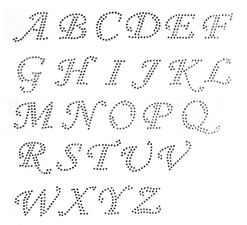 (Pick 15 letters Cursive Alphabet Letters Appx 2 Inches Clear Rhinestone Iron on Hotfix Transfer Decal Handmade USA)