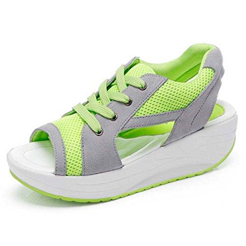 Solshine Sandal Breathable Mesh Shoes Running Toe Sneaker Peep Green Women's wrFBq6w