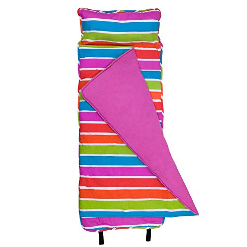 Wildkin Original Nap Mat, Features Built-in Blanket and Pillow, Perfect for Daycare and Preschool or Napping On-The-Go – Bright Stripes