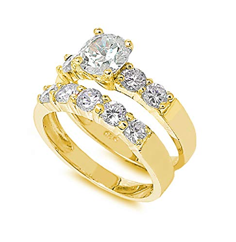 CloseoutWarehouse Round Center Cubic Zirconia Set of 2 Ring Yellow Gold-Tone Plated Sterling Silver Size - Tone Center Gold