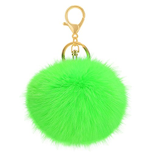 JYS365 Furry Rabbit Fur Key Ring Ball Keychain Bag Key Hanging Accessories -Grass Green