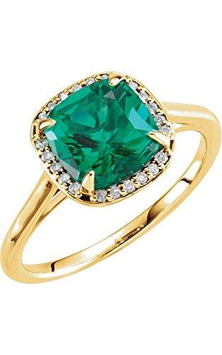 14k Yellow Gold 8x8mm Chatham Created Emerald & 0.055 ctw. Diamond Ring, Size 7