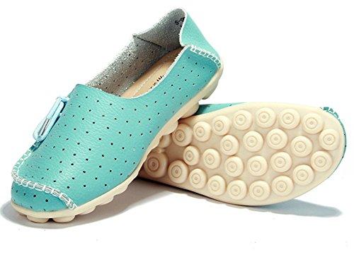 Lucksender Femmes Bout Rond Respirant Percé Confort Conduite Mocassins Chaussures Ciel Bleu
