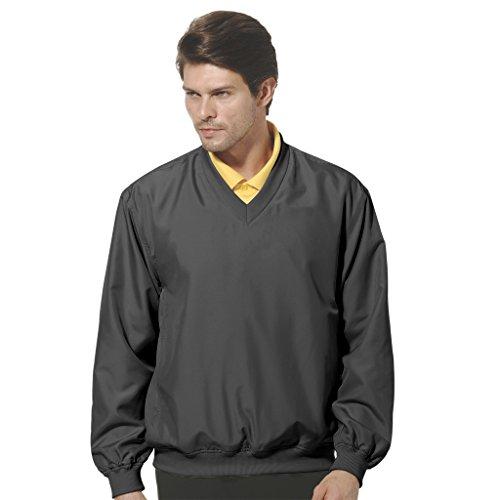 Monterey Club Mens Lightweight Microfiber Long Sleeve Dobby V-neck Pullover #1799 (Black, Large)