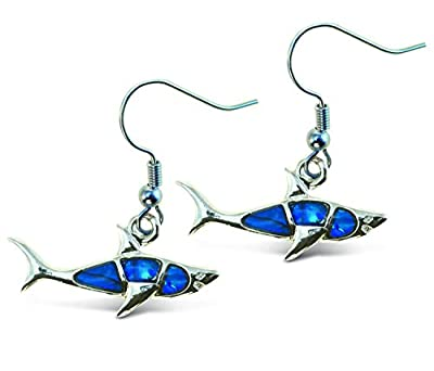 Puzzled Shark Dangle Post Fish Hook Earrings