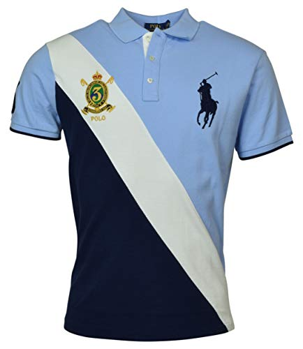 (Polo Ralph Lauren Mens Big Pony Custom Slim Fit Big Pony Crest Polo (Medium, Blue))