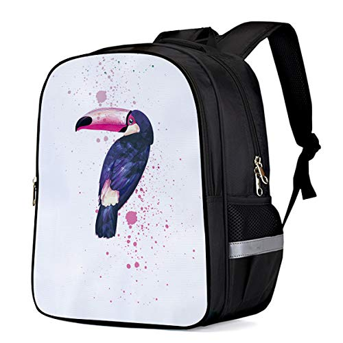 (Kid School Backpack Shoulder Book Bag for Teenage Girls Boys,Watercolour Toco Toucan Bird Hand Painting Child Schoolbag,13
