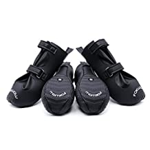 Ohana Waterproof Dog Shoes,Luxury Pet Boots for Small Medium Large Dogs,Ideal Paw Protector for Rainy Snowy Days with Anti Skid Sole Black 4 Pcs Size S